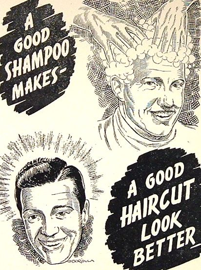 barber ad for shampoo